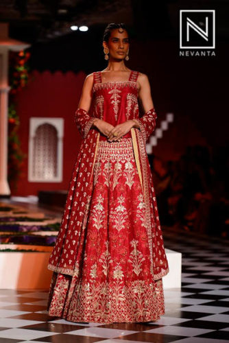 Red lehenga with royal flower motifs from Anita Dongre @ICW'16
