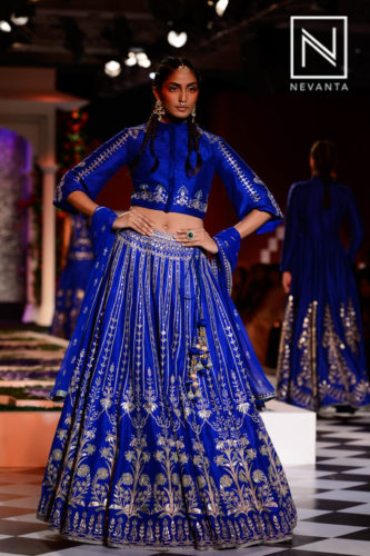 Blue embroidered lehenga from Anita Dongre @ICW'16