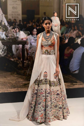A embroidered lace lehenga from Anamika Khanna