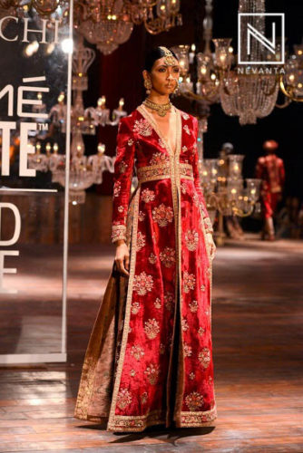 Embellished red slit gown from Sabyasachi @LWFW/F'16
