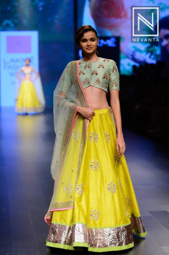 Lime yellow lehenga by Anushree Reddy