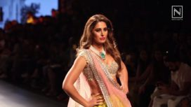 Nargis Fakhri Showstops for Anushree Reddy at Lakme Fashion Week WF 2017