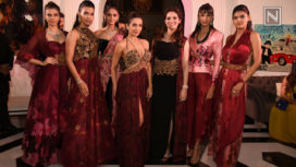 Malika Arora Walks for Rebecca Dewan in a Burgandy Gown