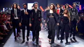 Sonakshi Sinha and Karan Johar Walk for Falguni Shane Peacock at Lakme Fashion Week SR 18