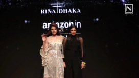 Rhea Chakraborty Walks for Rina Dhaka at Amazon India Fashion Week AW 18