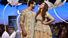 Neha Dhupia and Angad Bedi Walk for Payal Singhal at Lakme Fashion Week WF18
