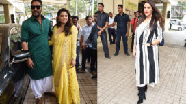 Ajay Devgn with Kajol and Neha Dhupia Launch the Trailer of Helicopter Eela