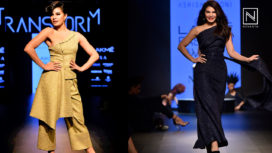 Jacqueline Fernandez Showstops for Ashish N Soni at Lakme Fashion Week WF18