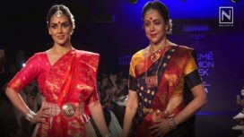 Hema Malini and Esha Deol Turn Showstoppers for Sanjukta Dutta at Lakme Fashion Week WF18