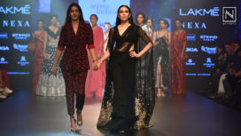 Karisma Kapoor Stuns in a Glittering Sari for Arpita Mehta at Lakme Fashion Week WF18