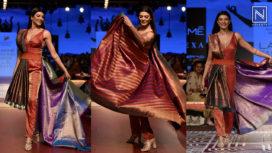 Sushmita Sen Drapes Sari Over Jumpsuit as Showstopper for Sunita Shanker at LFW WF18