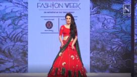 Radhika MadanWalks in Red Lehenga for Craftsvilla at Bombay Times Fashion Week 2018