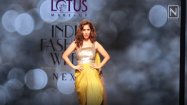 Sophie Choudry Sizzles in Lime Green for Megha Jain at Lotus Makeup India Fashion Week SS19