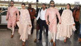 Ranveer Singh and Deepika Padukone Arrive at Mumbai for their Reception