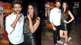 Kriti Sanon and Kartik Aaryan at the Wrap-Up Party of Luka Chuppi