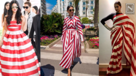 Bollywood Divas Go Playful with Red and White Candy Stripes