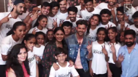Hrithik Roshan and Mrunal Thakur Groove with NGO Kids during Super 30 Promotions