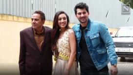 Karan Deol, Sahher Bambba and Dharmendra at Pal Pal Dil Ke Paas Trailer Launch