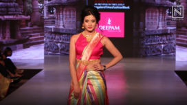 Harshika Poonacha Walks for Deepam Silks at Bangalore Times Fashion Week 2019