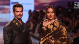 Bipasha Basu & Karan Singh Grover Turn Muse to Sanjukta Dutta at LFW SR 20