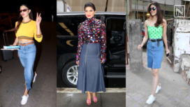Celebrity Divas Acing their Street Style in Chic Mid Length Denim Skirts