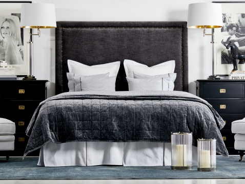 Paris sänggavel celeste antracit 180x180