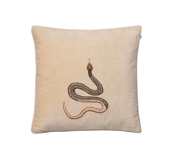 Listbild Cobra kuddfodral sammet beige 50x50