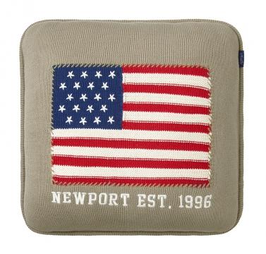 Newport stickad kudde beige 2