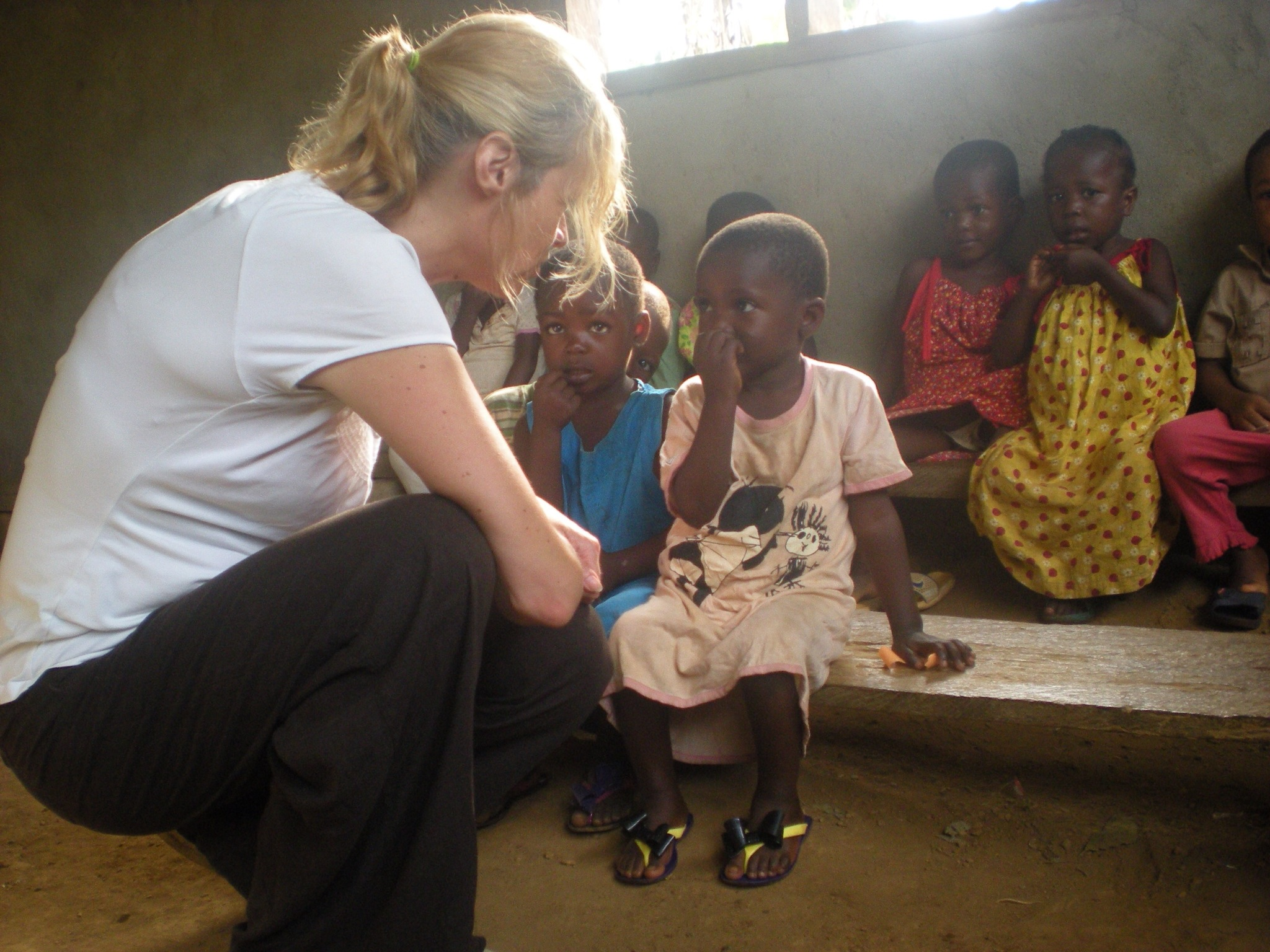 Nicky visits children at the school in February 2013