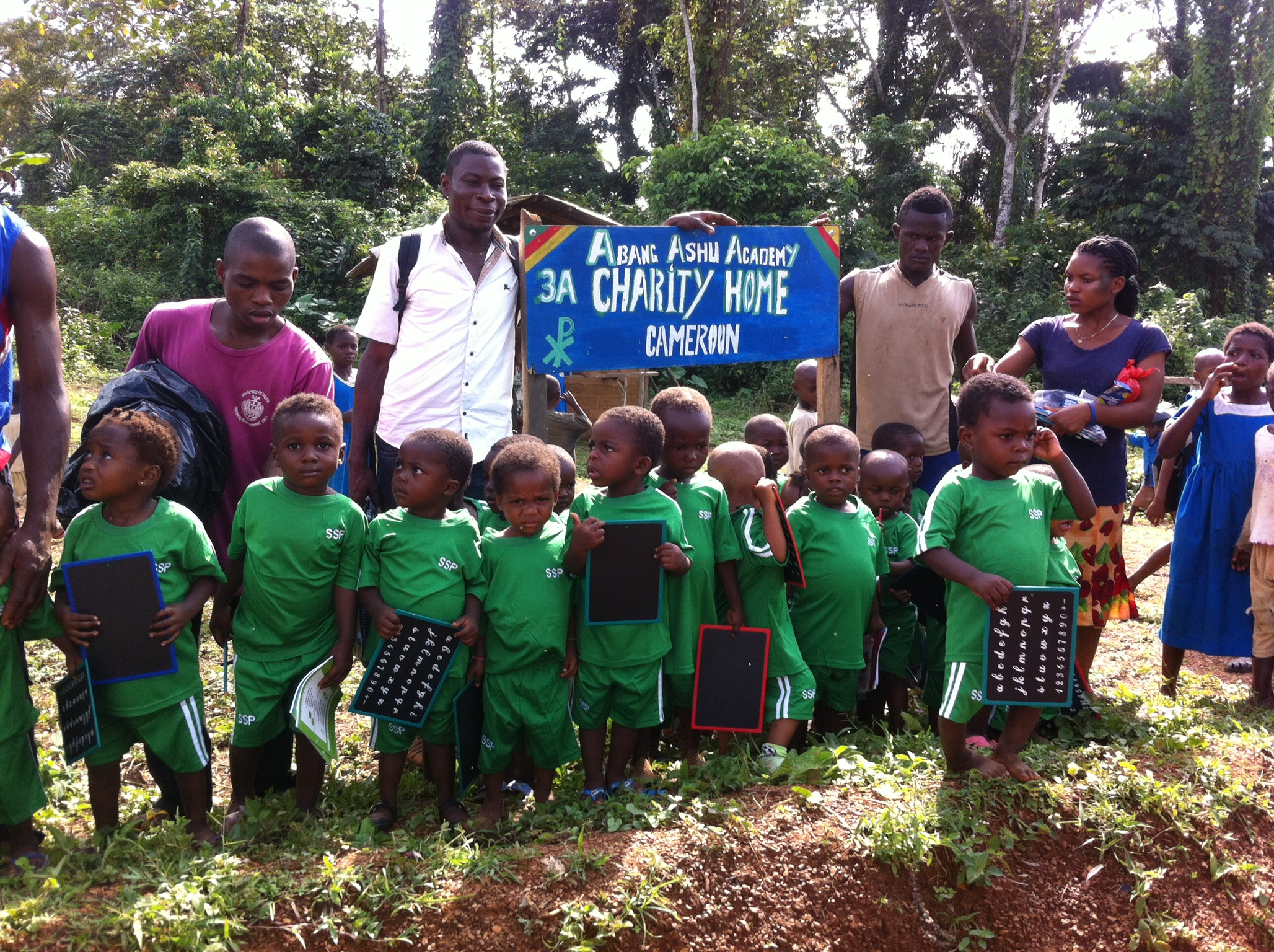 Thomson, Pappi and Clarice with the nursary children