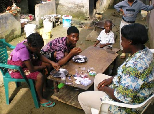 Jewellery making in rural south west Cameroon