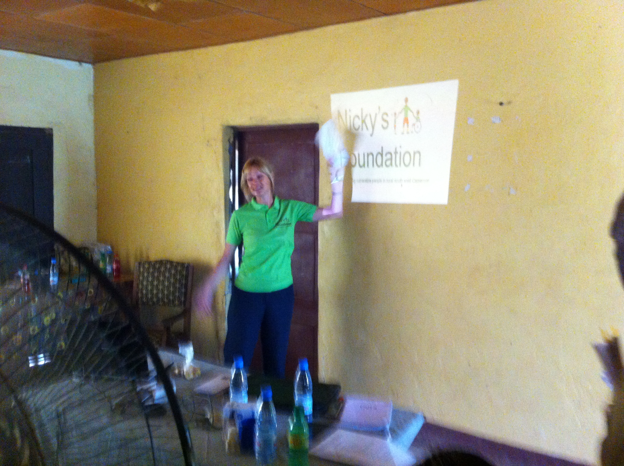 Nicky giving a presentation on the role of Nicky's Foundation