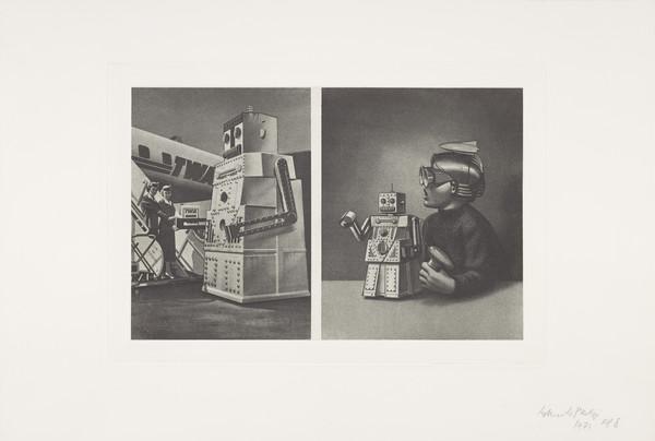 Left: Le Robot 'Robert' Voulait Aller à New York Mais le Passager est Trop Lourd: TWA Plane - Steps - Cap 14 Persons with Two Stewardesses. Right...