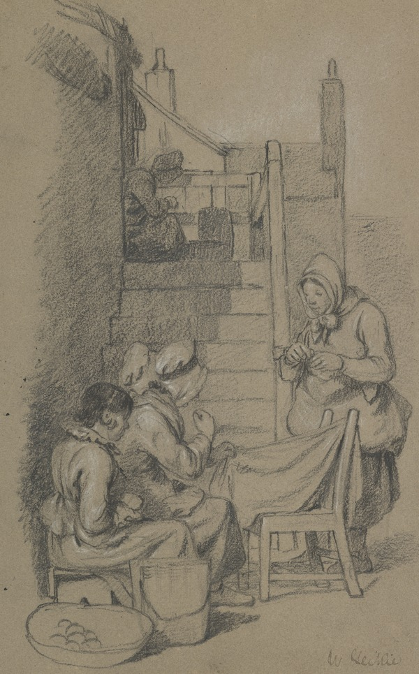'Busy Auld Wives': Women Sewing by an Outside Staircase