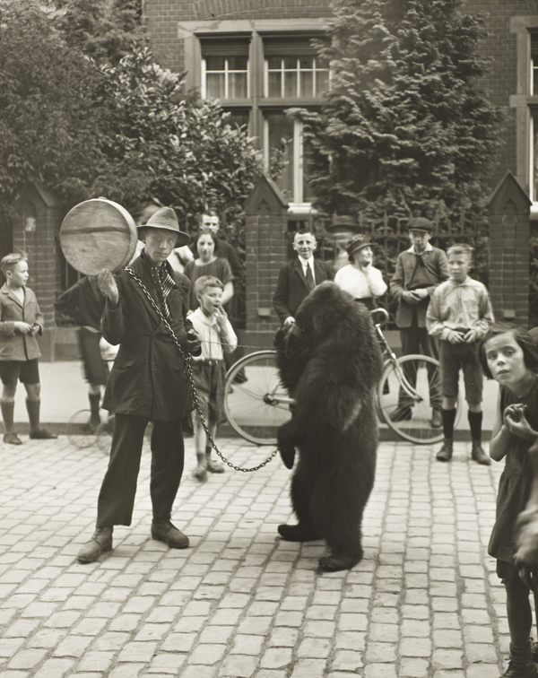 Showman with Performing Bear in Cologne, 1923 (1923)