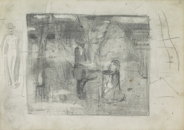 Sketch of a Standing Man; Composition Sketch for 'In the Orchard'