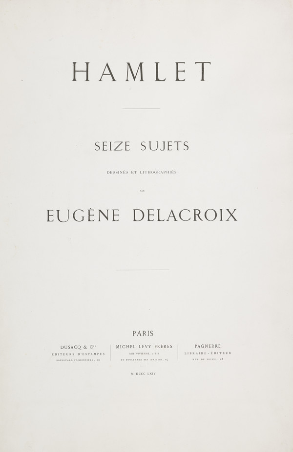 Title Page and Edition Folder for Delacroix's Hamlet Series