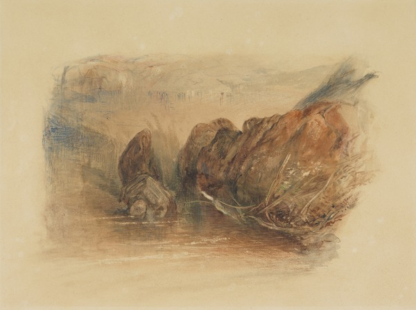 Rocks. Copy after J.M.W. Turner's 'Llanberis Lake and Snowdon, Caernarvon, Wales'