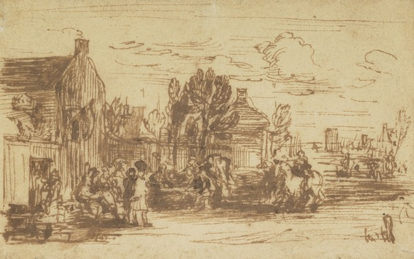 Scene Outside an Inn. Possibly a Study for the Painting 'Pitlessie Fair'