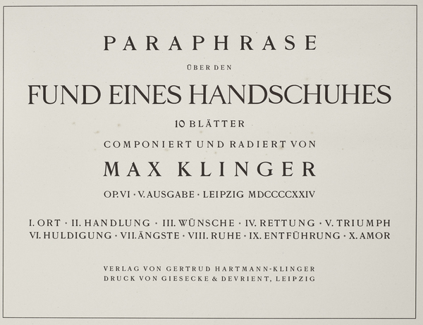Titlepage from the series 'On the Finding of a Glove'