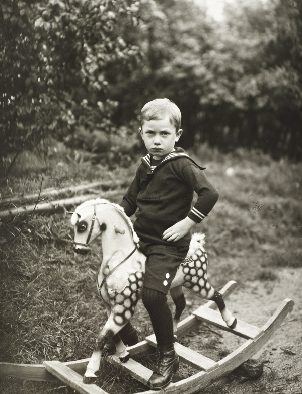 Young Boy on a Toy Horse, about 1922-25