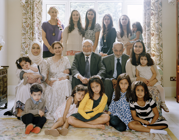 Bashir Ahmed Maan CBE (centre) with his Family, Glasgow, 19 June 2011. From A Scottish Family Portrait series