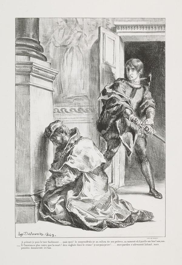 'Hamlet Tente de Tuer le Roi' (Hamlet Hesitates in Killing the King) (Act III, Scene III) (Delteil No. 110)
