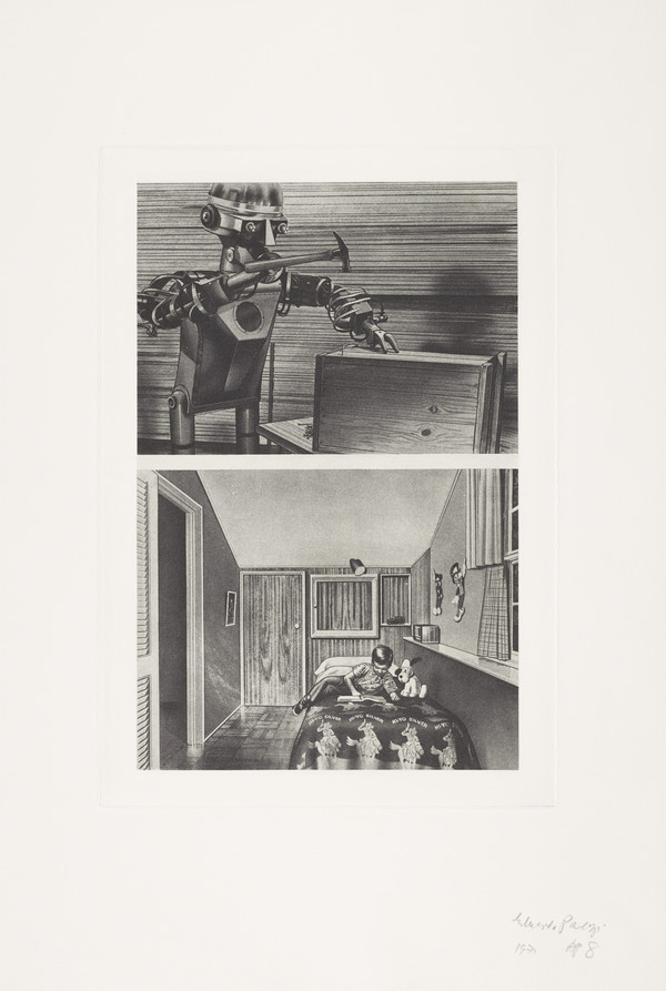 Top: Garco Robot Nailing a Wooden Box. Bottom: Little Boy on his Bed in his Room. From Cloud Atomic Laboratory