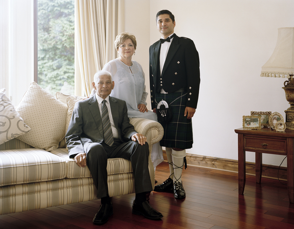 Faroque Hussain with his Parents, Clydebank, 24 June 2011. From A Scottish Family Portrait Series