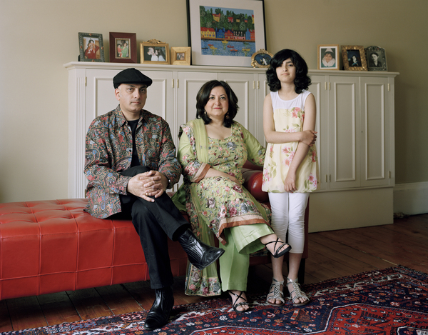 Alina Mirza and Suhayl Saadi with their daughter, Glasgow, 14 May 2011. From A Scottish Family Portraits series