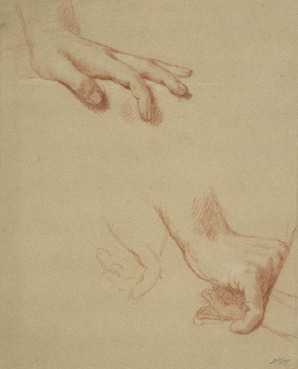 Two Studies of a Man's Right Hand and his Left Hand. Study for the Painting of George III in Coronation Robes