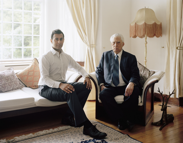 Muhammed Tufail Shaheen MBE with his Grandson, Glasgow, 29 May 2011. From A Scottish Family Portrait series