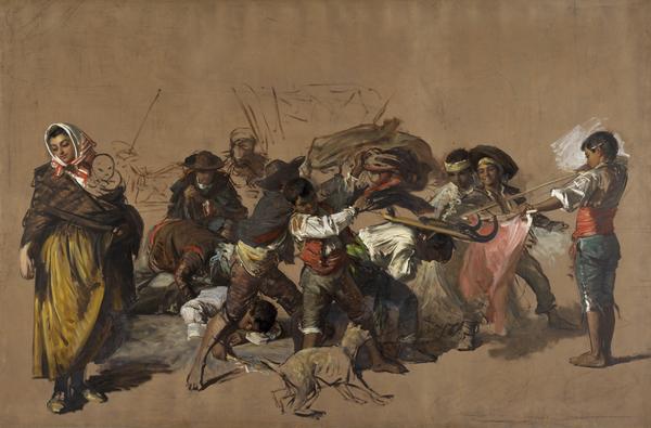 Spanish Boys Playing at Bullfighting