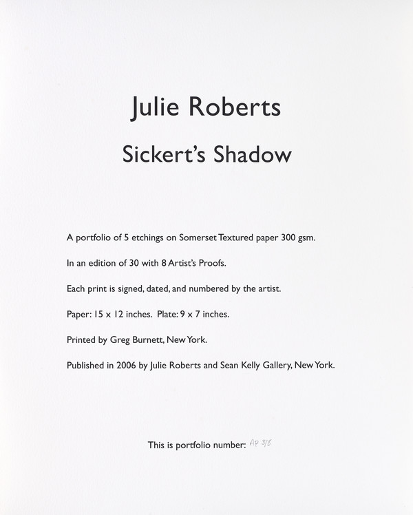 Colophon page (from Sickert's Shadow Portfolio)